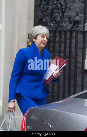 London UK. 19th July 2017. British Prime Minister Theresa May leaves No10 Downing Street for the weekly PMQ Prime - Stock Photo
