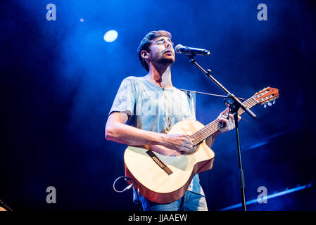 Grugliasco, UK. 18th July, 2017. The spanish pop singer Alvaro Soler performs at GruVilllage Festival in Grugliasco, - Stock Photo