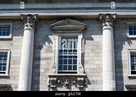 Georgian Facade and Clock, Trinity College, Dublin, Ireland, university, college, Georgian building, ornate pillars - Stock Photo