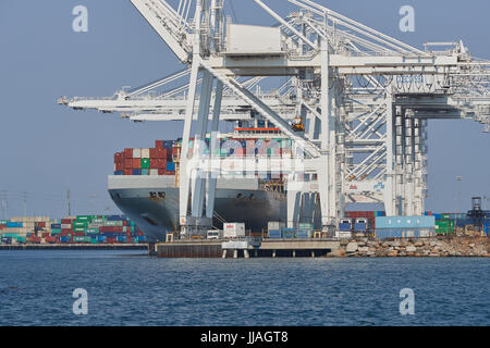 COSCO SHIPPING Container Ship, COSCO AMERICA, Being Unloaded In The Port of Long Beach, California, USA. - Stock Photo