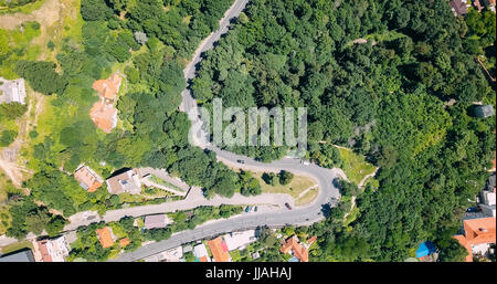 Aerial View Of Road Running Through Carpathian Mountains Forest - Stock Photo