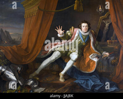DAVID GARRICK (1717-1779) English actor as Richard III waking before Battle of Bosworth in a 1745 painting by William - Stock Photo