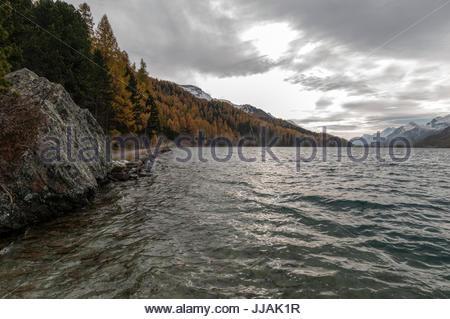 Lake Silvaplana, autumn view, Switzerland - Stock Photo