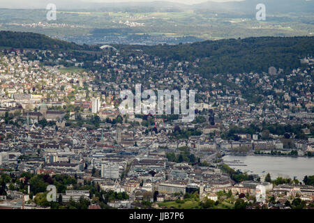 View of Central Zurich from Uetliberg viewpoint - Stock Photo