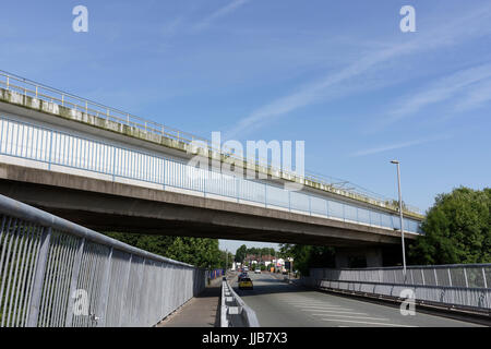 Manchester Metrolink bridge over the A56 road in bury lancashire - Stock Photo