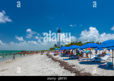 Beach at Cape Florida Light, the oldest standing structure in Miami-Dade at County in Bill Baggs Cape Florida State - Stock Photo