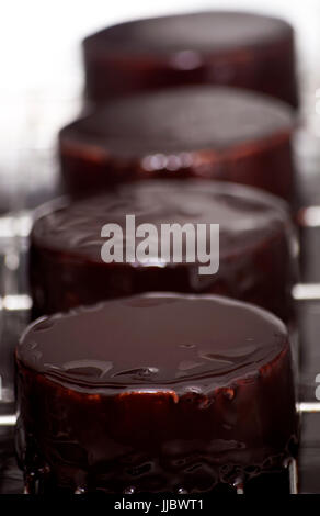 three mousse chocolates - Stock Photo