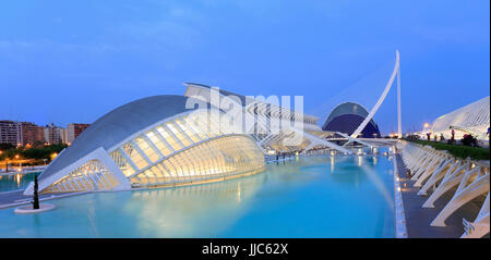VALENCIA, SPAIN - JULY 23, 2017: Hemispheric building with reflections at dusk. The City of Arts and Sciences is - Stock Photo