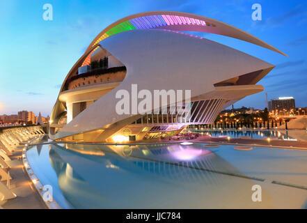VALENCIA, SPAIN - JULY 24, 2017: El Palau de les Arts Reina Sofía building with reflections at dusk, City of Arts - Stock Photo
