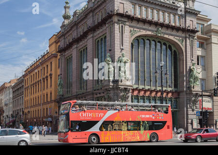 Tourist bus on Nevsky Prospect. St. Petersburg. Russia - Stock Photo