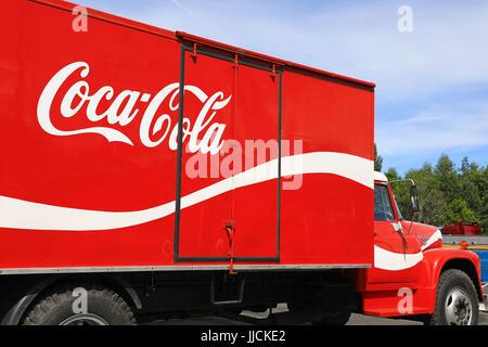 HAMEENLINNA, FINLAND - JULY 15, 2017: International Loadstar 1890 vintage Coca-Cola transport truck on display on - Stock Photo