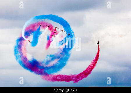 Red Arrows display team performing at the 2017 Royal International Air Tattoo at RAF Fairford - Stock Photo