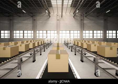 3d rendering carton boxes on conveyor belts in factory - Stock Photo
