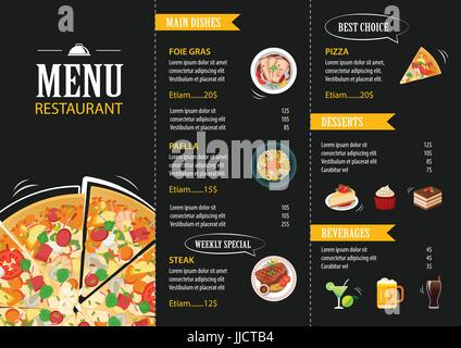 Vector pizza label or poster design template pizza for Fish and chip shop menu template