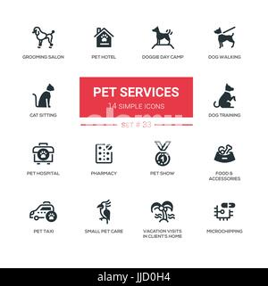 Pet Services - Modern simple thin line design icons, pictograms set - Stock Photo