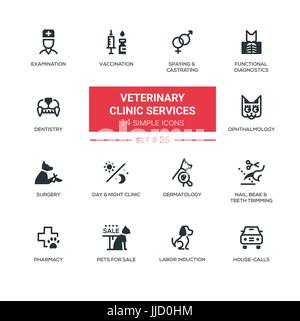 Veterinary clinic services - Modern simple icons, pictograms set - Stock Photo