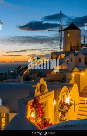Sunset view, Oia, Santorini, South Aegean, Greece - Stock Photo