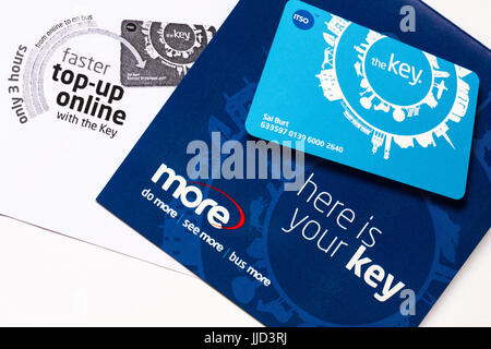 More buses the key smartcard to purchase bus tickets online in advance and get discounts - Stock Photo
