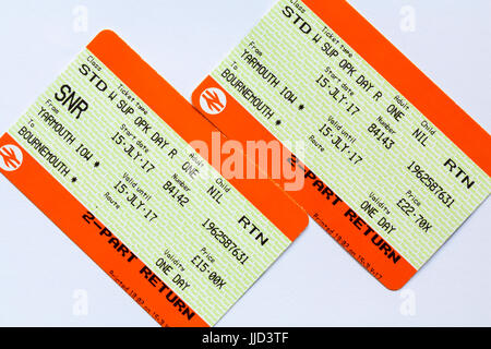 South West Trains train tickets for return trip between Yarmouth, Isle of Wight and Bournemouth showing price difference - Stock Photo
