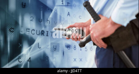 Mid section of security officer holding baton and walkie talkie against virus background - Stock Photo