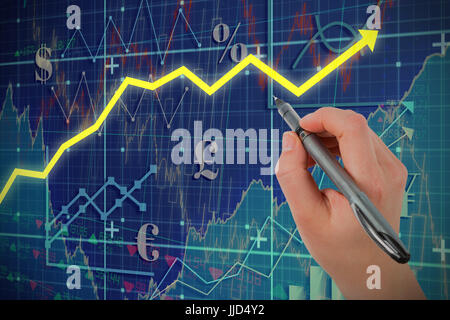 Businesswomans hand writing with pen against red arrow - Stock Photo