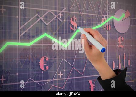Businesswomans hand writing with marker against red arrow - Stock Photo