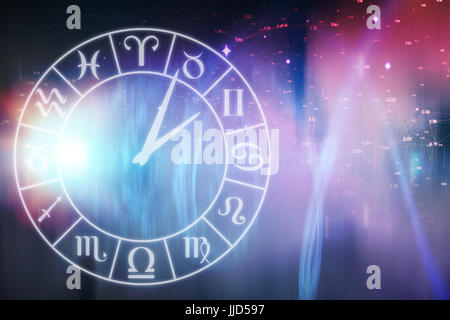 Vector image of clock with various Zodiac signs against illustration of illuminated light - Stock Photo