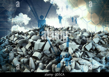 pile of rocks against people icons and binary codes - Stock Photo