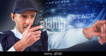 Security officer talking on walkie talkie while pointing away against virus background - Stock Photo