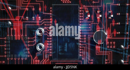 Binary codes and people icons against close up of circuit board - Stock Photo