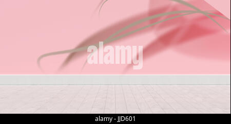 Digitally generated image of pink light ray against blue wall by hardwood floor - Stock Photo