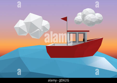Three dimensional image of red boat against sunrise sky - Stock Photo