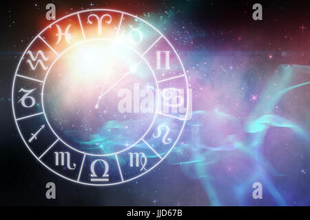 Digitally generated image of clock with various Zodiac signs against digitally generated image of colorful lights - Stock Photo