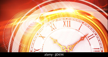 Illustrative image of a clock against glowing abstract design - Stock Photo