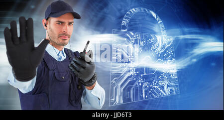 Confident security officer making stop gesture against virus background - Stock Photo