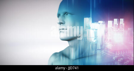 Circuit board against white background against glowing background - Stock Photo