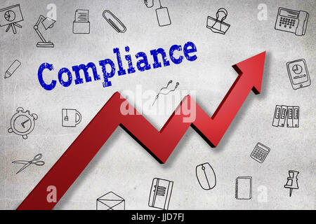 Close up of Compliance text  against black wall - Stock Photo