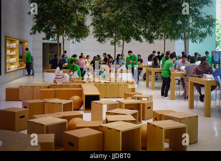 Singapore - Jun 14, 2017. Interior of Apple Store in Orchard Rd, Singapore. Tourism forms a large part of the Singapore - Stock Photo