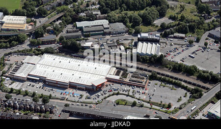 aerial view of the B&Q on Queens Road, Sheffield, UK - Stock Photo