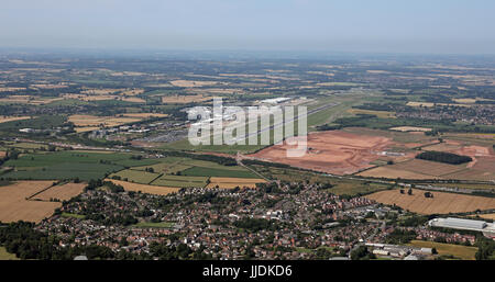 aerial view of East Midlands Airport, UK - Stock Photo