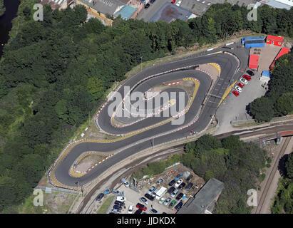 aerial view of Parkwood Karting, GoKart track N of Sheffield, UK - Stock Photo