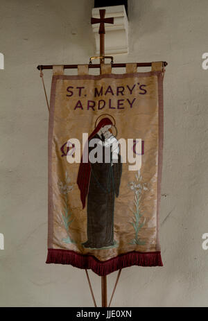 Mothers Union banner, St. Mary`s Church, Ardley, Oxfordshire, UK - Stock Photo