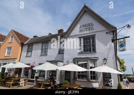 Angel Hotel in Lavenham on a Sunny Summer Day - Stock Photo