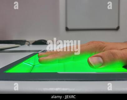 Man Using Biometrics Identification Stock Photo Alamy - Pool table identification