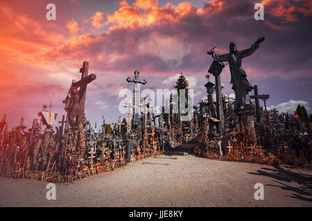 mountain of crosses is a shrine in Lithuania, a place of pilgrimage - Stock Photo