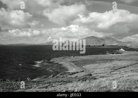 The view down to Valentia Island lighthouse in County Kerry, Ireland - Stock Photo