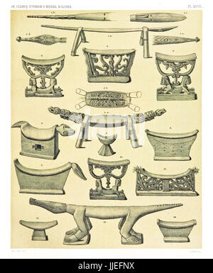 Illustration of ethnic objects from the West and North coast of  Dutch New Guinea. By F.S.A. De Clercq and J.D.E. - Stock Photo