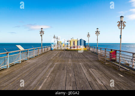 View Looking Towards the End of Teignmouth Grand Pier, Showing Repaired Decking: Teignmouth, Devon, England. - Stock Photo