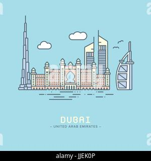 Line Icon style Dubai city flat vector illustration - Stock Photo