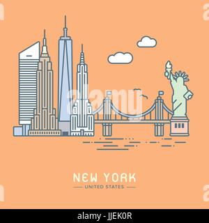 Line Icon style New York City flat vector illustration - Stock Photo